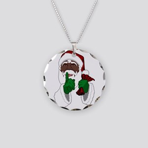 African Santa Clause Necklace Circle Charm