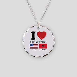 USA-ALBANIA Necklace Circle Charm