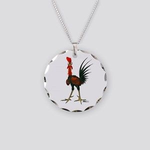 Crazy Rooster Necklace Circle Charm