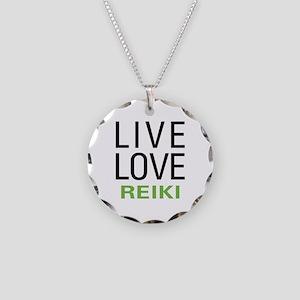 Live Love Reiki Necklace Circle Charm