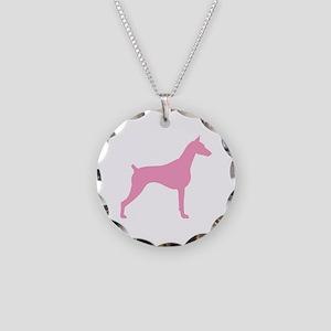 Pink Doberman Necklace Circle Charm