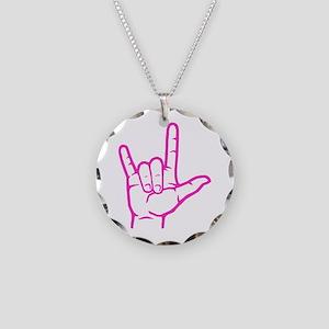 Fuchsia I Love You Necklace Circle Charm
