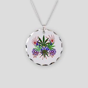 Marijuana Art Necklace Circle Charm