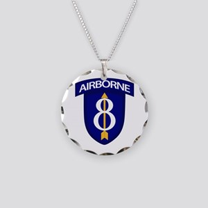 8th Infantry Airborne Necklace Circle Charm