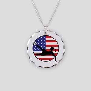 US Women's Soccer Necklace Circle Charm