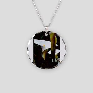 Calla Lily Garden Necklace Circle Charm