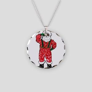 glitter black santa claus Necklace Circle Charm