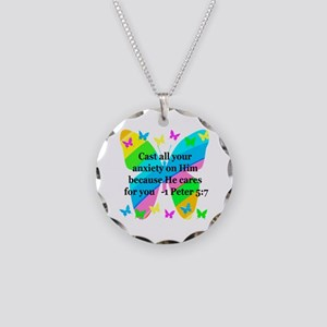 1 PETER 5:7 Necklace Circle Charm