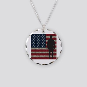 Usflag Soldier Necklace Circle Charm
