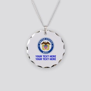 US Navy Sign Personalized Necklace Circle Charm