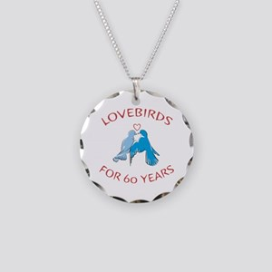 60th Anniversary Lovebirds Necklace Circle Charm