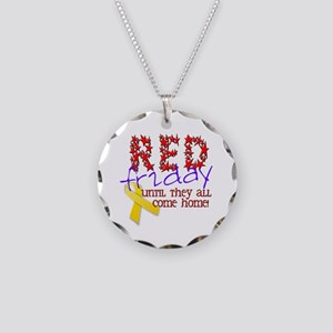 Red Friday Necklace Circle Charm