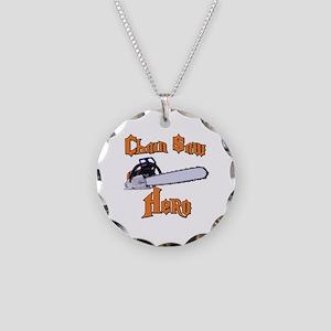 Chain Saw Hero Chainsaw Necklace Circle Charm