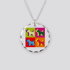Scottish Terrier Silhouette Pop Art Necklace Circl