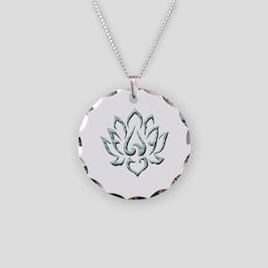 Lotus Flower Necklace Circle Charm