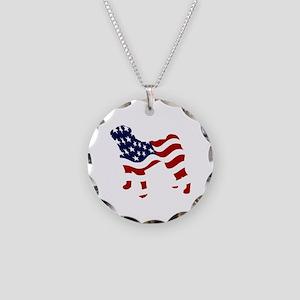Patriotic Pug - Necklace Circle Charm