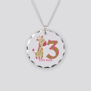 3rd Birthday Pink Giraffe Personalized Necklace Ci