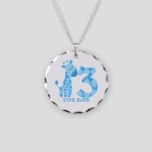 Blue Giraffe 3rd Birthday Personalized Necklace Ci