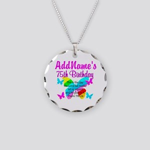 75TH BUTTERFLY Necklace Circle Charm