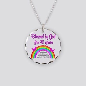 PRECIOUS 90TH Necklace Circle Charm