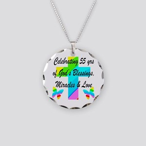 BLESSED 55 YR OLD Necklace Circle Charm
