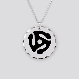 45 rpm vinyl adapter Necklace Circle Charm