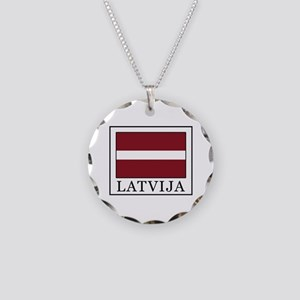Latvija Necklace Circle Charm