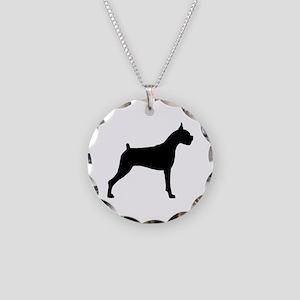 Boxer Dog Necklace Circle Charm
