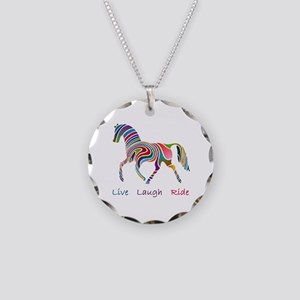 Rainbow horse gift Necklace Circle Charm