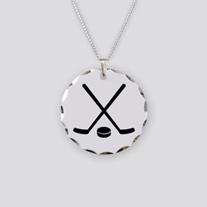 Hockey sticks puck Necklace Circle Charm