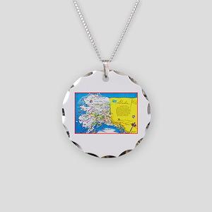 Alaska Map Greetings Necklace Circle Charm