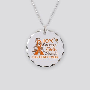 Hope Courage Faith 3 Kidney Cancer Necklace Circle