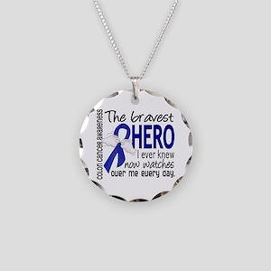 Bravest Hero I Knew Colon Cancer Necklace Circle C