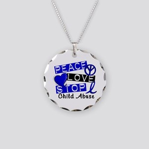 Peace Love Stop Child Abuse Necklace Circle Charm