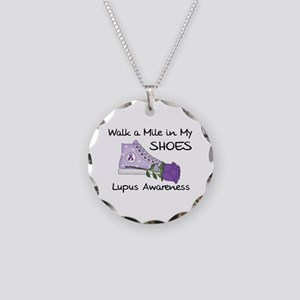 Walk a Mile in My Shoes Lupus Necklace Circle Char