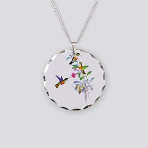 Hummingbirds Necklace Circle Charm