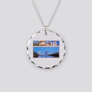 Rochester New York Greetings Necklace Circle Charm