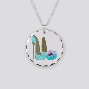 Turquoise Lace Stilettos and Rose Art Necklace