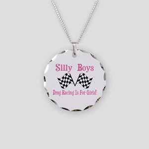 DRAG RACING IS FOR GIRLS Necklace Circle Charm