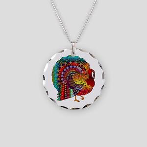 Thanksgiving Jeweled Turkey Necklace Circle Charm