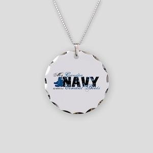 Grandpa Combat Boots - NAVY Necklace Circle Charm