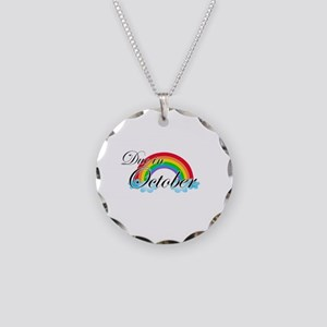 Due in October Rainbow Necklace Circle Charm