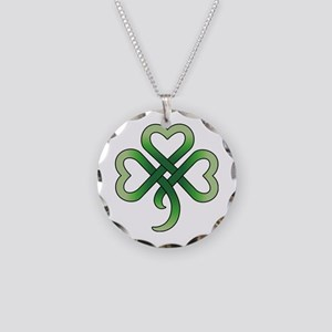 Celtic Clover Necklace Circle Charm