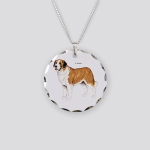 St. Bernard Dog Necklace Circle Charm