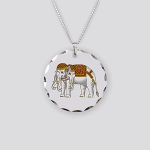 Thai Erawan White Elephant Necklace Circle Charm