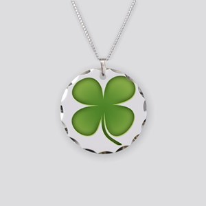 Lucky Irish Four Leaf Clover Necklace Circle Charm