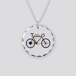 Bike Made Up Of Words To Mot Necklace Circle Charm