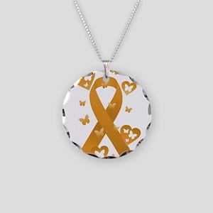 Orange Awareness Ribbon Necklace Circle Charm