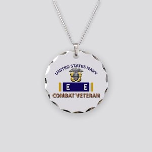 Navy E Ribbon - Cbt Vet - E2 Necklace Circle Charm