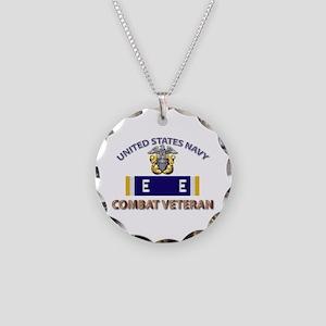 Navy E Ribbon - Cbt Vet - E2 Necklace Circle Charm